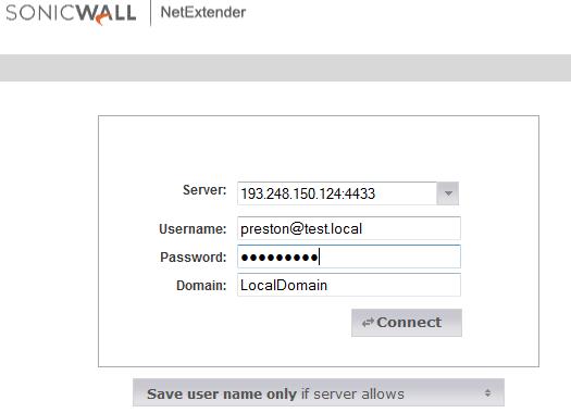 Testing using NetExtender 3